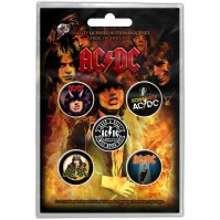 AC DC Official Highway to Hell Pack Of Five Button Badge Pin Rock Band