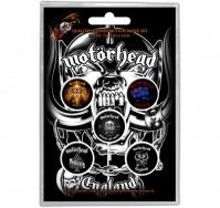 Motorhead England Motif Button Badge Pack Of 5 Rock Band Official Product