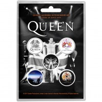Queen Freddie Motif Button Badge Pack Of 5 Mercury Rock Band Official Product
