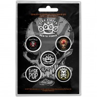 Five Finger Death Punch Logos Pack Of Five Button Badge Pin Rock Band Heavy Metal