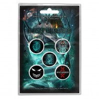 Disturbed Official News of the World Pack Of Five Button Badge Pin Rock Band