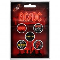 AC?DC Official PWR-UP Pack Of Five Button Badge Pin Band Power Rock