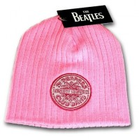 The Beatles Official Lonely Hearts Club Pink Knitted Beanie Hat One Size