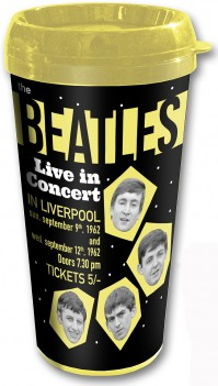 The Beatles Live In Concert Liverpool Black Travel Coffee Mug Vacuum Official