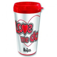 The Beatles Love Me Do Red White Travel Coffee Mug Vacuum Gift Box Official