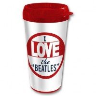 I Love The Beatles White Red Thermal Travel Coffee Mug Vacuum Gift Box Official