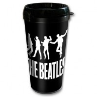 The Beatles Black White Jump Logo Thermal Travel Coffee Mug Vacuum Gift Official