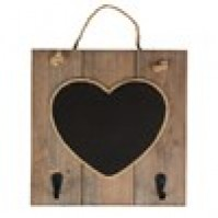 Ashley Farmhouse Heart Chalkboard Hooks Rustic Wood Jute String Hanging