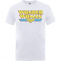 DC Comic Originals Wonder Woman Logo Crackle Mens White T Shirt Retro