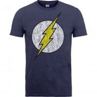 DC Comics Mens Grey Blue T Shirt Originals Flash Logo Distressed