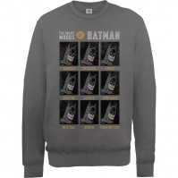 Many Moods Of Batman Design Mens Dark Grey Sweatshirt Jumper DC Comics Official