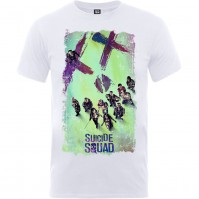 XXLarge DC Comics Mens White Tshirt Suicide Movie Poster Official Merchandise