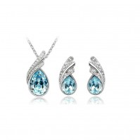 Crystal Droplet Silver and Blue Elegant Earrings & Necklace Jewellery Set