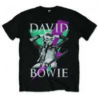 David Bowie Thunder Flash Official Mens Black Short Sleeve T-Shirt Retro Vintage