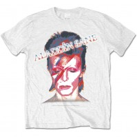 David Bowie Aladdin Sane Flash Official Mens White T-Shirt Retro Vintage Ziggy