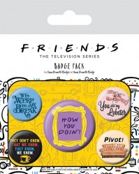 Friends Quotes How You Doin Lobster Official Set Of 5 Badge Pack Pin Badge