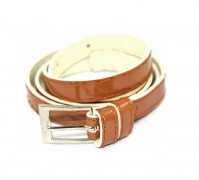 Brown Ladies Womens Girls Skinny Leather Belt Fashion Dress Patent Leather Thin