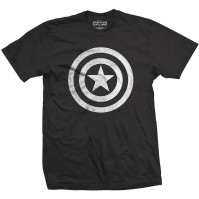 Captain America Distressed Shield Mens Black T Shirt Civil War Marvel Comics