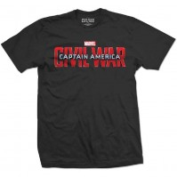 Captain America Civil War Logo Mens Black T Shirt Avengers Marvel Comics Iron Man