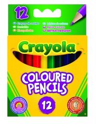Crayola 12 Pack Coloured Half Pencils Kids Children Draw Colour School Playtime Fun