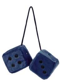 Blue And Black Fluffy Fuzzy Furry Hanging Spotty Car Dice Soft Gift Retro