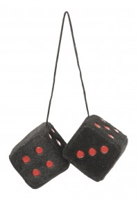 Black And Red Fluffy Fuzzy Furry Hanging Spotty Car Dice Soft Gift Retro