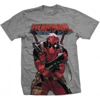 Official Marvel Comics Mens Grey T Shirt Tee Deadpool Big Print Close Up Pose