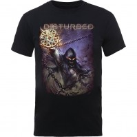Disturbed Official Vortex Colours Mens Black Short Sleeve T-Shirt Rock Band