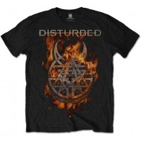 Disturbed Mens Black Short Sleeve Burning Belief T-Shirt Logo Band Rock Metal