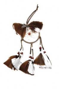 White Brown Hanging Car Dream Catcher Native American Beads Feathers String Gift
