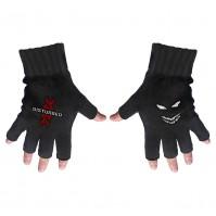 Disturbed Reddna White Red Logo Official Fingerless Black Gloves Rock Band