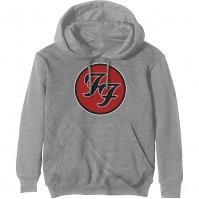 Foo Fighters Official FF Logo Mens Grey Pullover Hoodie With Pouch Pocket Rock