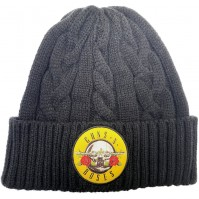 Guns N' Roses Official Unisex Mens Adult Circle Logo Cable Knit Turn Up Beanie