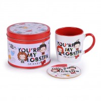 Friends Official You're My Lobster Chibi Mug And Coaster Set In Tin Tea Coffee