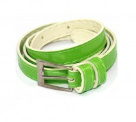 Green Ladies Womens Girls Skinny Leather Belt Fashion Dress Patent Leather Thin
