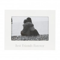 Best Friends For Ever Photo Frame With Wording  White Glass MDF Freestanding