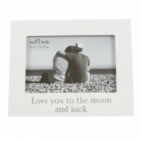 Love You To The Moon And Back Photo Frame White Glass MDF Freestanding