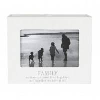 "Photo Frame Album Modern Family We Have It All Gift Lounge Bedroom Square 4 x 6"" White Wooden"