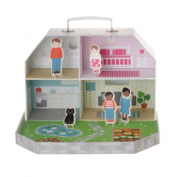 Childrens Dolls House Let's Play With Figurines Kids Toy Travel Carry Suit Case