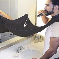 Black Shaving Beard Apron Suction Cups Sink Bib Cape Trimmer Facial Hair