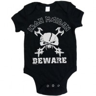 Iron Maiden Black Beware Skull Baby Grow Babies X Large 18-24 Months Official
