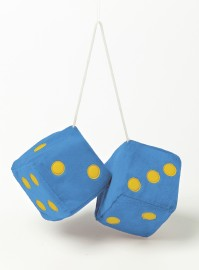 Jumbo Fuzzy Furry Fluffy Blue Yellow Hanging Car Dice Spotty Mirror Fun Novelty