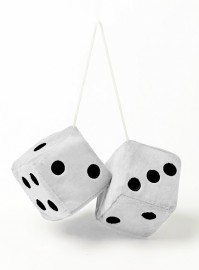 Jumbo Fuzzy Furry Fluffy Black White Hanging Car Dice Spotty Mirror Fun Novelty