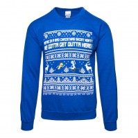 Rick And Morty Mens Blue White Christmas Jumper Sweater Bad Christmas Snowflakes