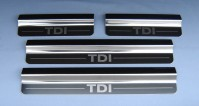 VW Volkswagen Touareg TDi 4 Chrome Door Sill Protectors Kick Plates