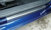 VW Volkswagen Golf Mk6 4 Upper Door Sill Protectors W Stripe Chrome Kick Plates