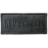 Kurt Cobain Official Embroidered Black Rectangle Iron On Patch Badge Nirvana