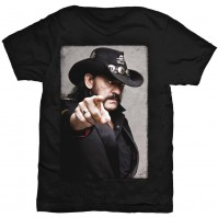 Motorhead Lemmy Pointing Photo Mens Black T Shirt Official Rock Band Ace Spades