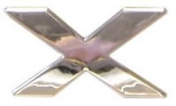 Chrome Letter X - Self Adhesive