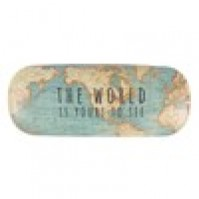 Vintage Map Hard Glasses Case The World Is Yours To See Travel Spectacles